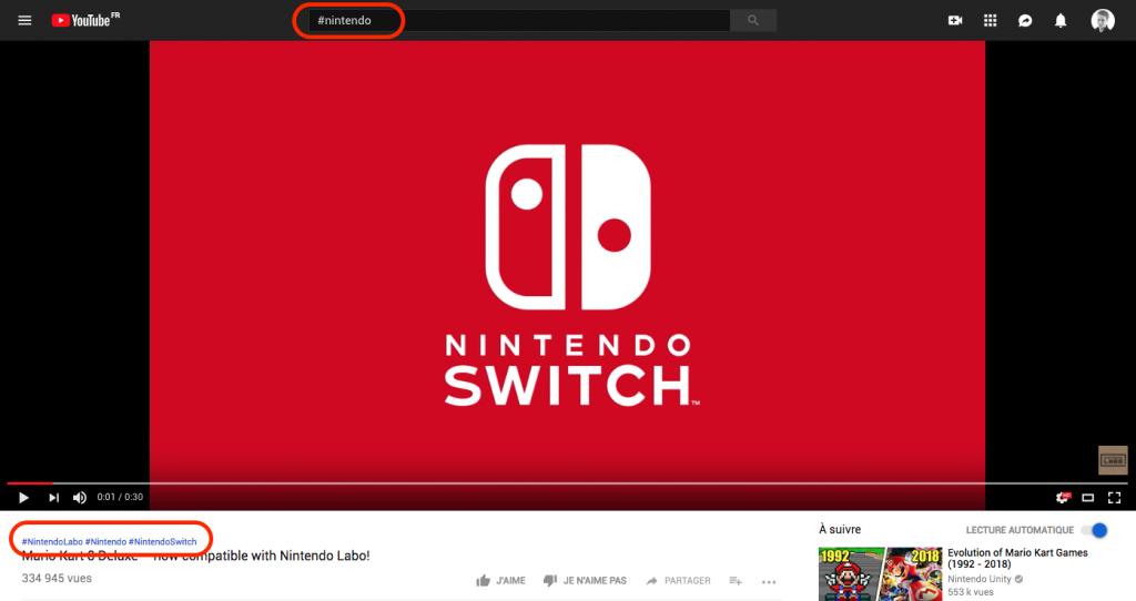 Capture de l'utilisation des HashTag sur Youtube